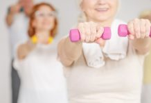 exercise group of ladies with dumbbells after taking the multivitamins for women over 50 years old