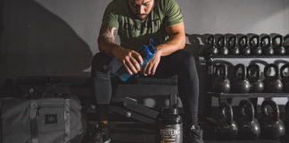man post workout drinking an onnit grass-fed whey protein drink